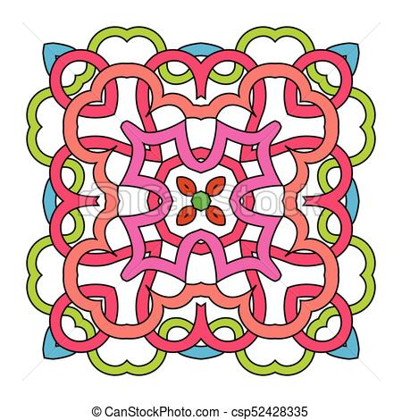 450x470 Ornamental Square Mandala On White Background Vectors