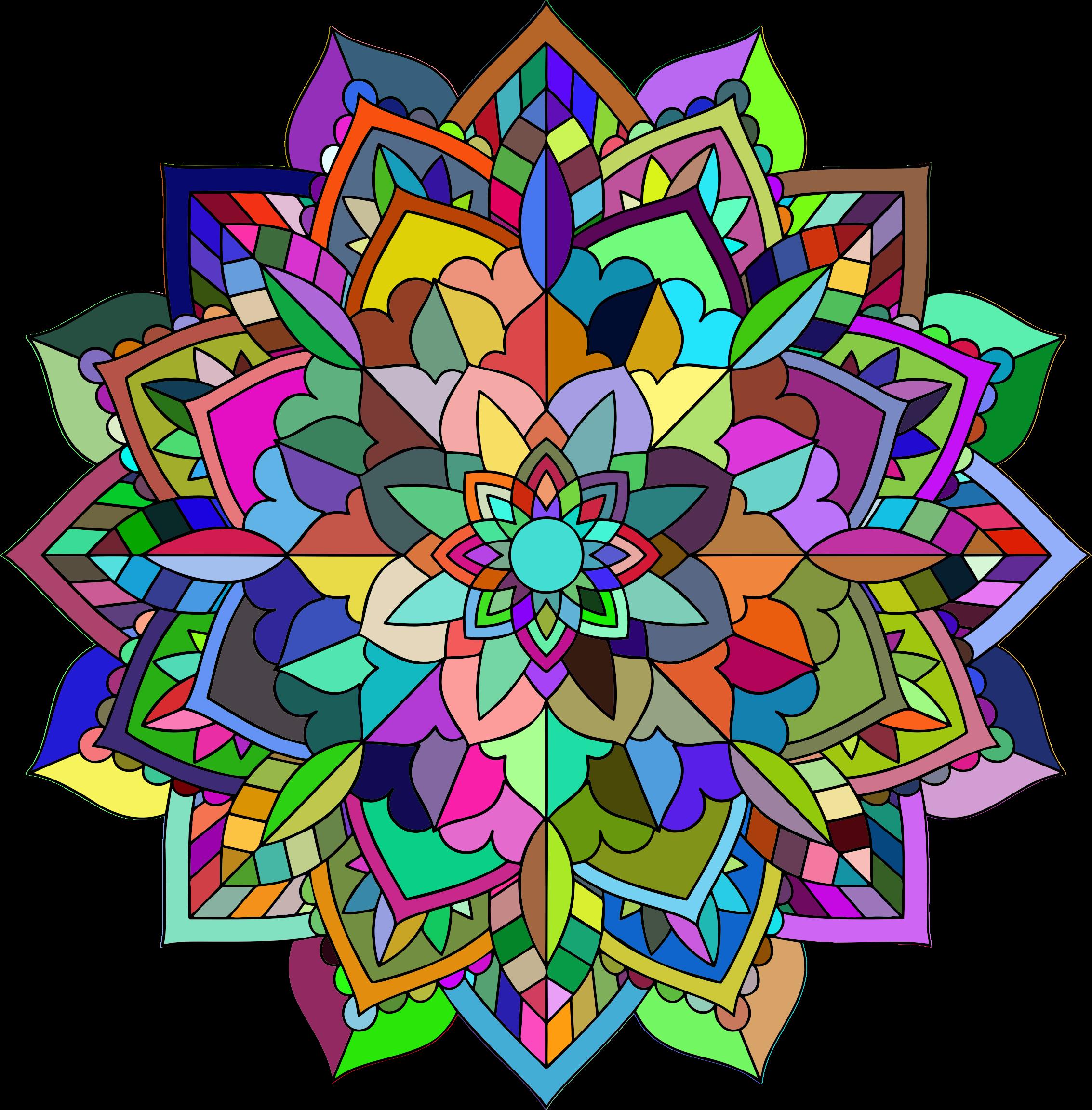 2266x2304 Prismatic Floral Mandala Line Art Icons Png