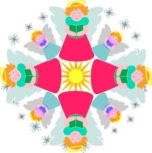 300x302 Angels Mandala Christmas Ornament Paper Craft Or Clip Art