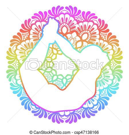 450x470 Women Silhouette. Bow Yoga Pose. Dhanurasana. Mandala Round