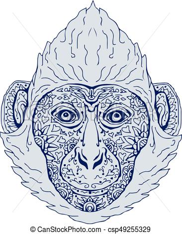 366x470 Cat Ba Langur Head Mandala. Illustration Of A Cat Ba Langur