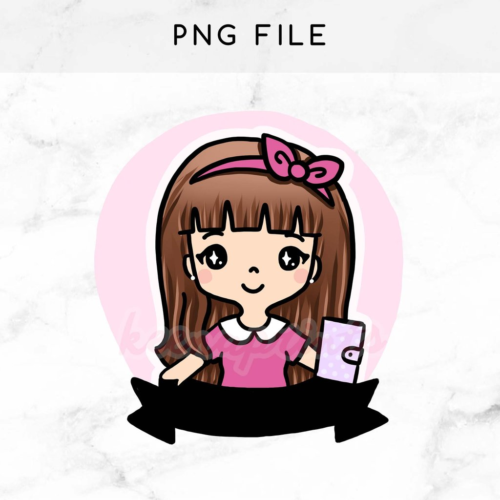 1024x1024 Pre Made Chibi Planner Girl Keenachi Printable Clip Art Keenaprints