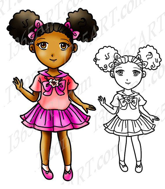 570x651 African American Girl Clipart, Black Girl, Afro Puffs, Digital