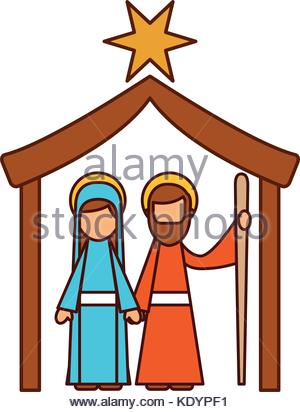 300x412 Christmas Nativity Scene With Virgin Mary And Baby Jesus Stock