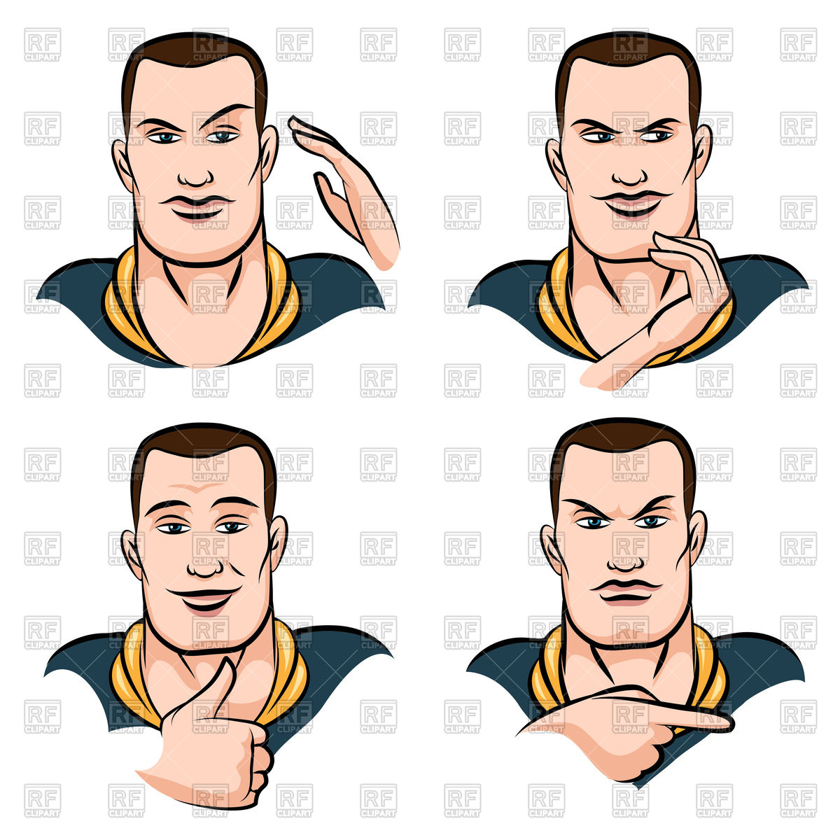 1200x1200 Man's Face Expression Set Drawn In Cartoon Style Royalty Free