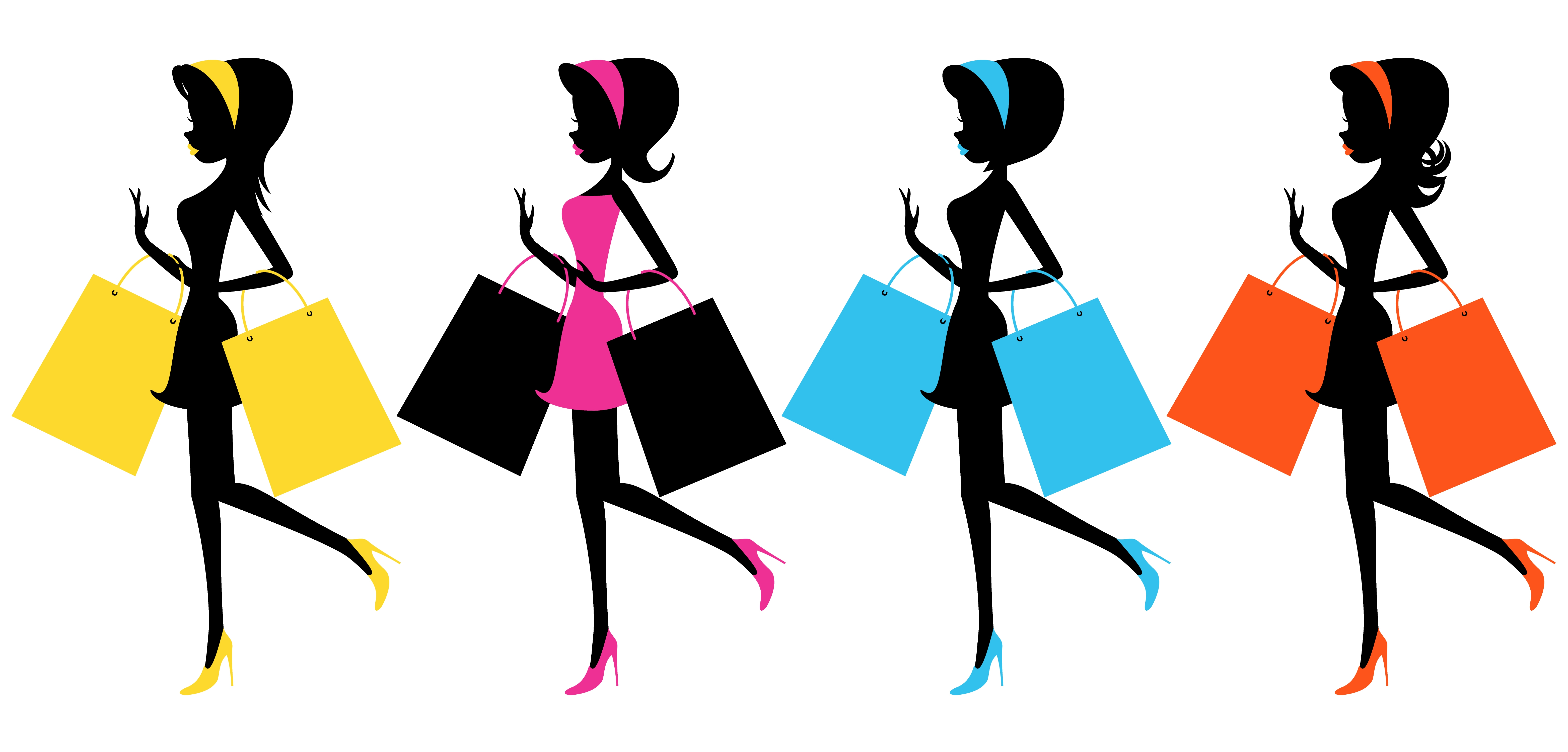 6250x3000 Shopping Bag Clipart Group With Items