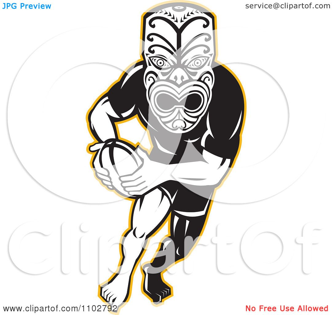1080x1024 Clipart Yellow Black And White Maori Warrior Rugby Player