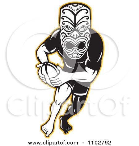 450x470 Clipart Of A Retro Maori Mask In Red And White