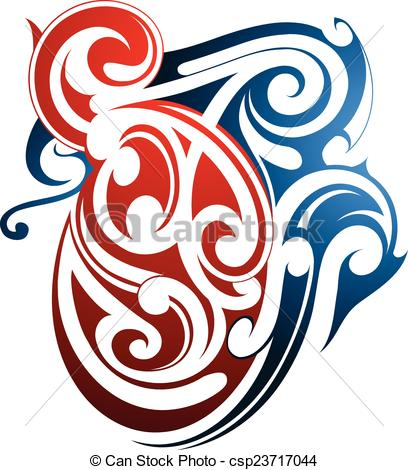 408x470 Maori Tattoo Shape. Tribal Art Maori Origin. Two Color Eps