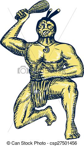 272x470 Maori Warrior Wielding Patu Kneeling Etching. Etching Clipart