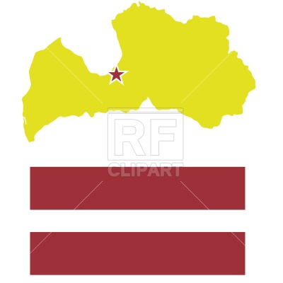 400x400 Latvia Map Outline And Flag Royalty Free Vector Clip Art Image