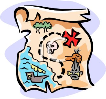350x328 Royalty Free Clip Art Image Pirate's Treasure Map