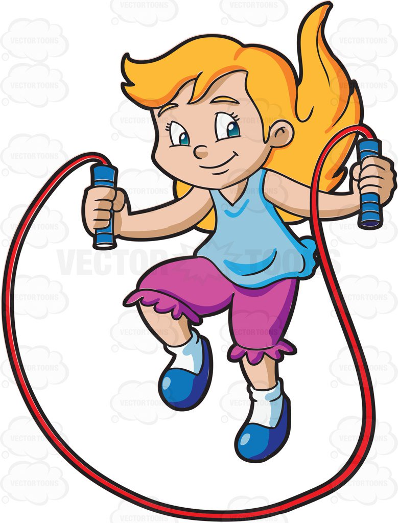 779x1024 A Young Girl Skipping Rope Cartoon Clipart Vector Toons