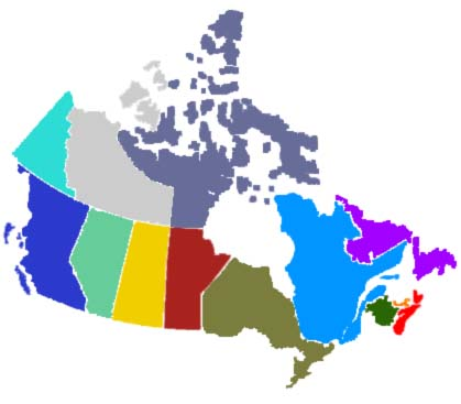 419x367 Coloured Map Of Canada