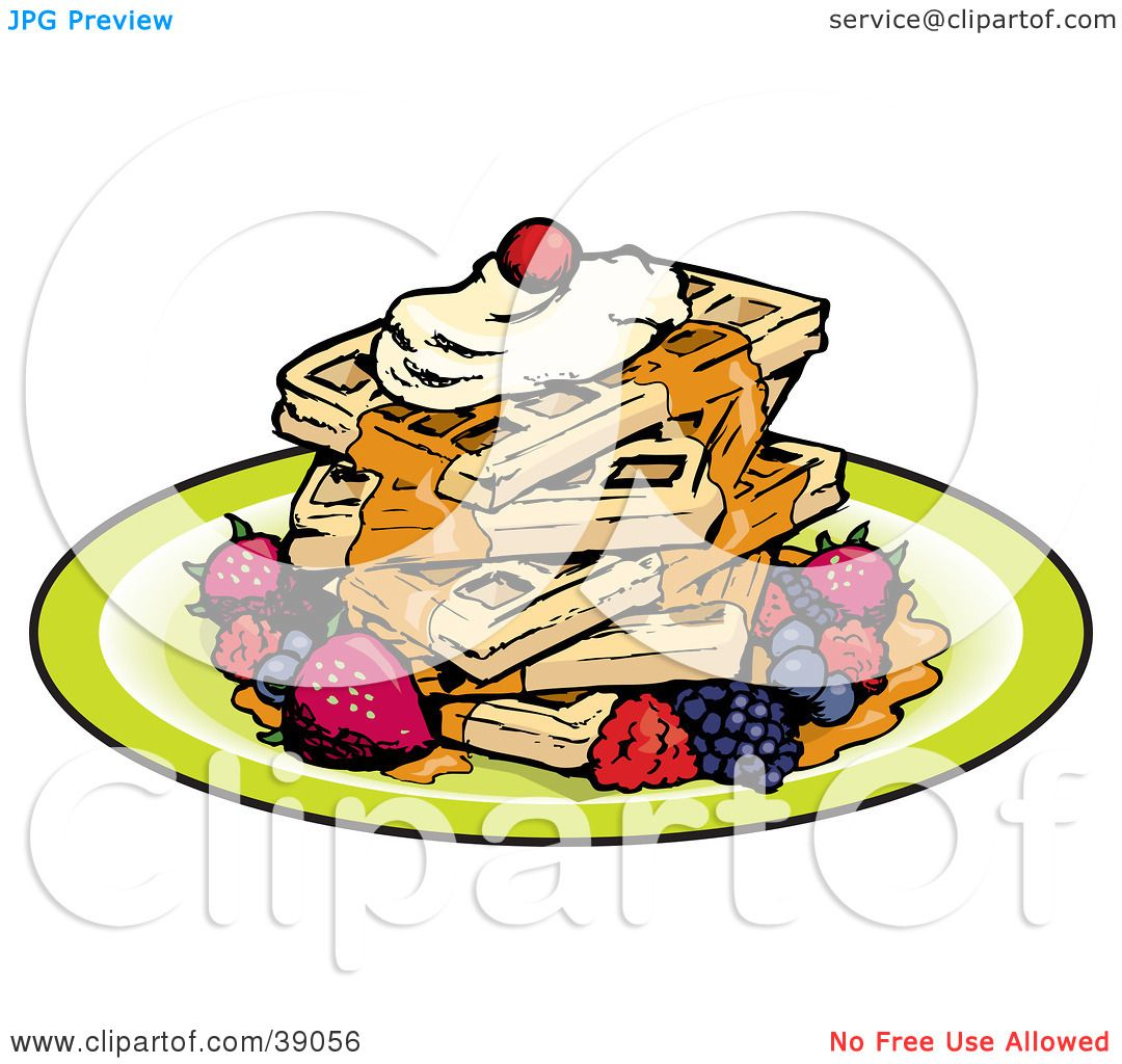 1080x1024 Clipart Illustration Of A Stack Of Five Square Waffles Garnished