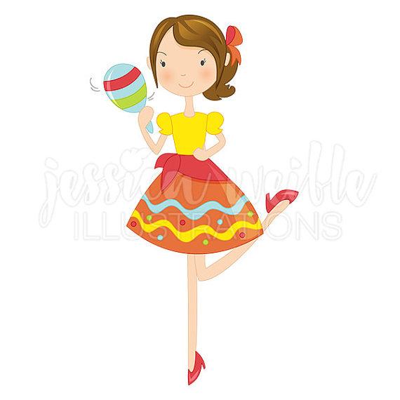 570x570 Fiesta Girl With Maraca Cute Digital Clipart Cinco De Mayo