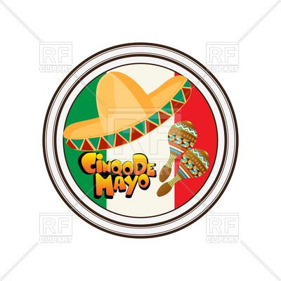400x400 Mexican Sticker With Sombrero And Maraca Royalty Free Vector Clip