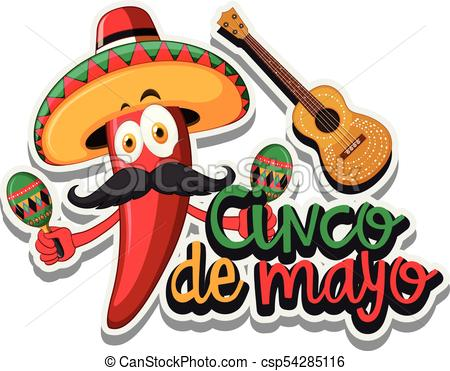 450x371 Red Chili With Mexican Hat And Maracas Illustration Vector Clip