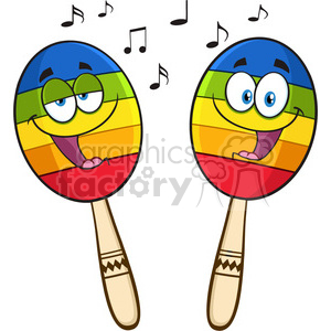 300x300 Royalty Free Two Colorful Mexican Maracas Cartoon Mascot