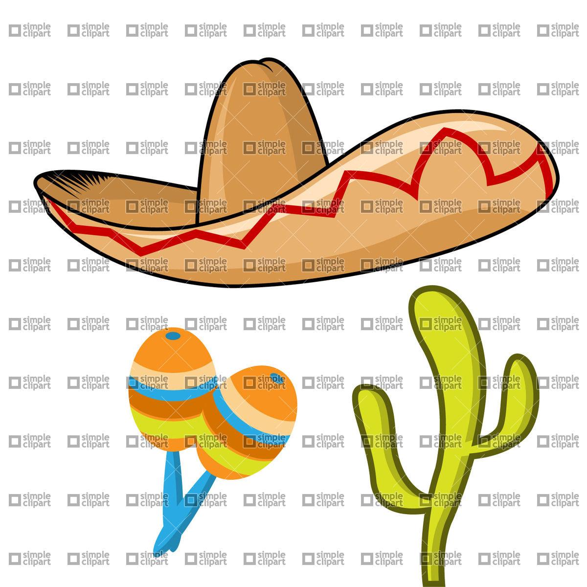 1200x1200 Sombrero, Maracas And Cactus Vector Image