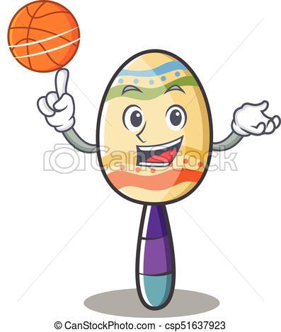 397x470 With Basketball Maracas Character Cartoon Style Vector Vector