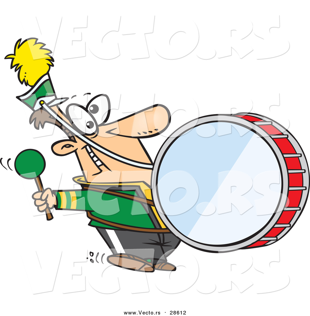 1024x1044 Vector Of A Goofy Marching Band Drummer Man Banging A Drum