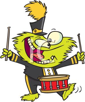 293x350 Cartoon Of A Monster Playing Drums In A Marching Band