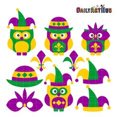 236x236 Clipart Mardi Gras Mardi Gras Owls Digital Clip Art Holiday