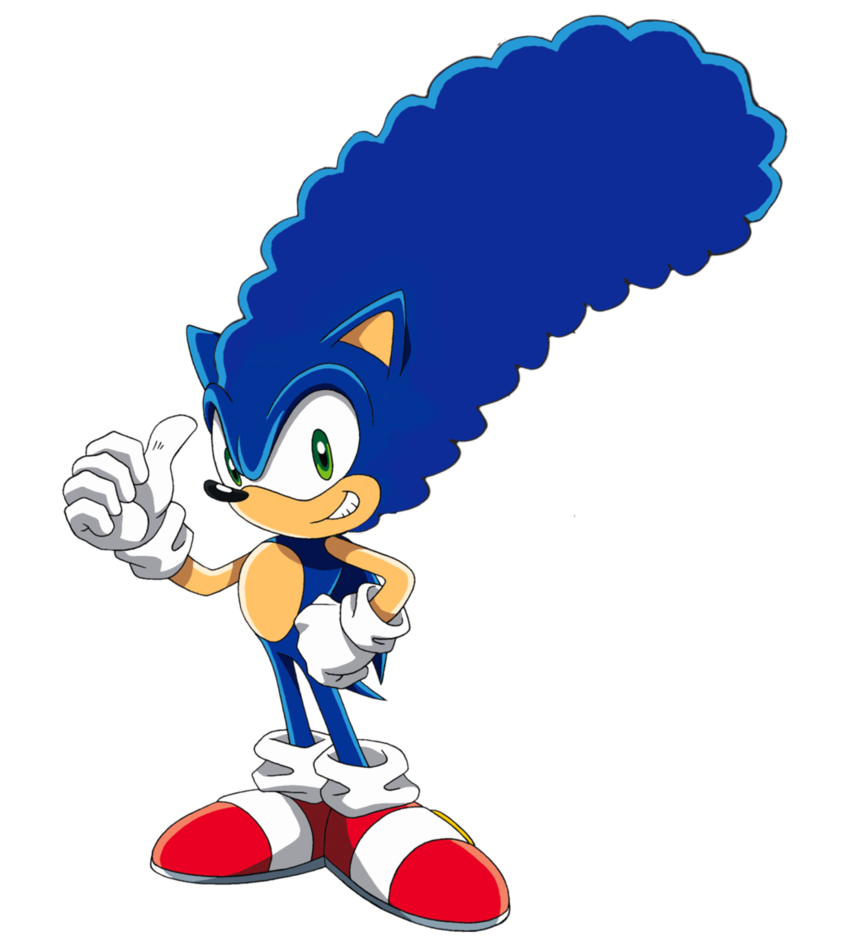 845x946 Sonic With Marge Simpson Hair By Tfmast