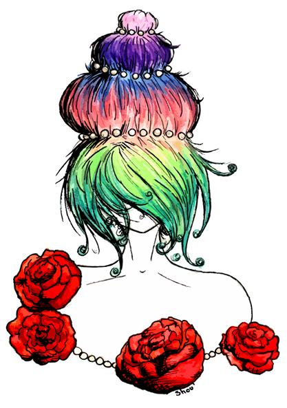 417x593 Marie Antoinette Fleur Flower Chignon Cupcake Multicolore Art