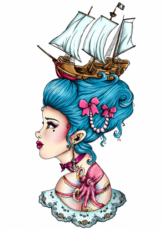 570x805 Blue Pirate Ship Marie Antoinette A4 Art Print By Hungry