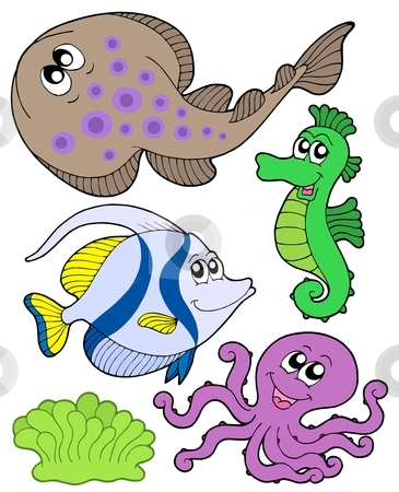 365x450 Cute Marine Animals Collection 3 Stock Vector
