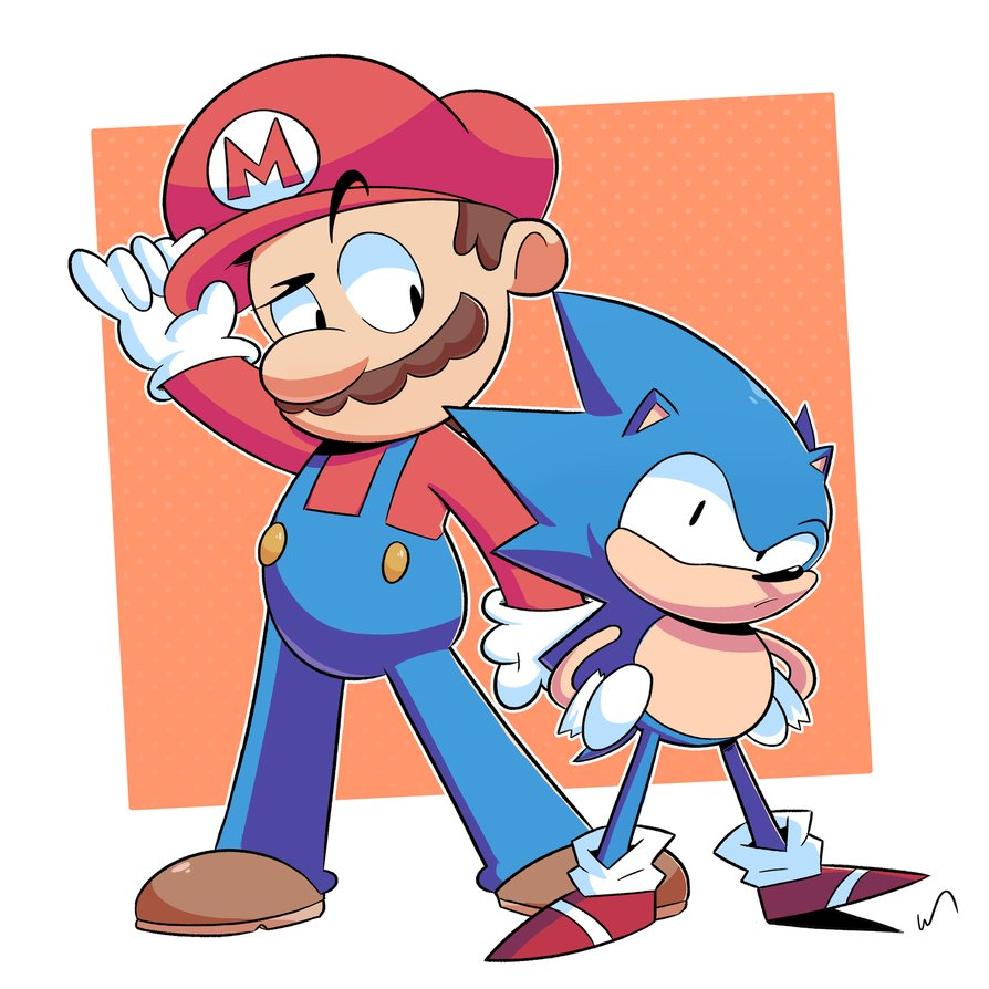 894x894 Mario And Sonic By Theblackdude