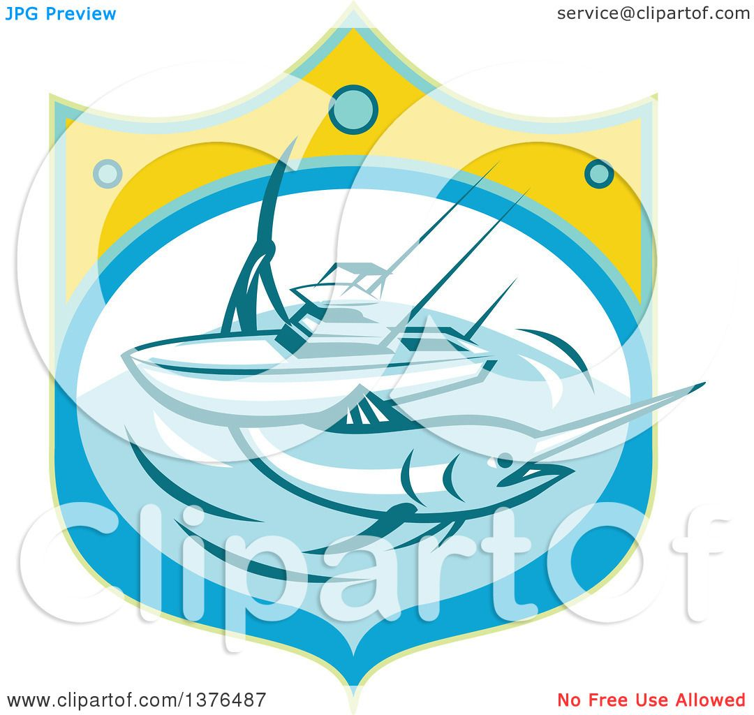 1080x1024 Clipart Of A Retro Blue Marlin Fish And Charter Boat