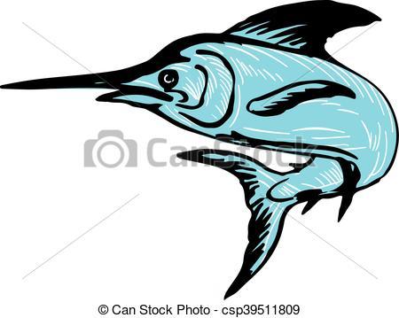 450x359 Blue Marlin Fish Jumping Drawing. Drawing Sketch Style Vector