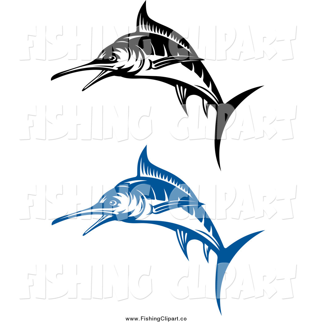 1024x1044 Clip Art Of Blue And Black And White Jumping Marlin Fish By Vector