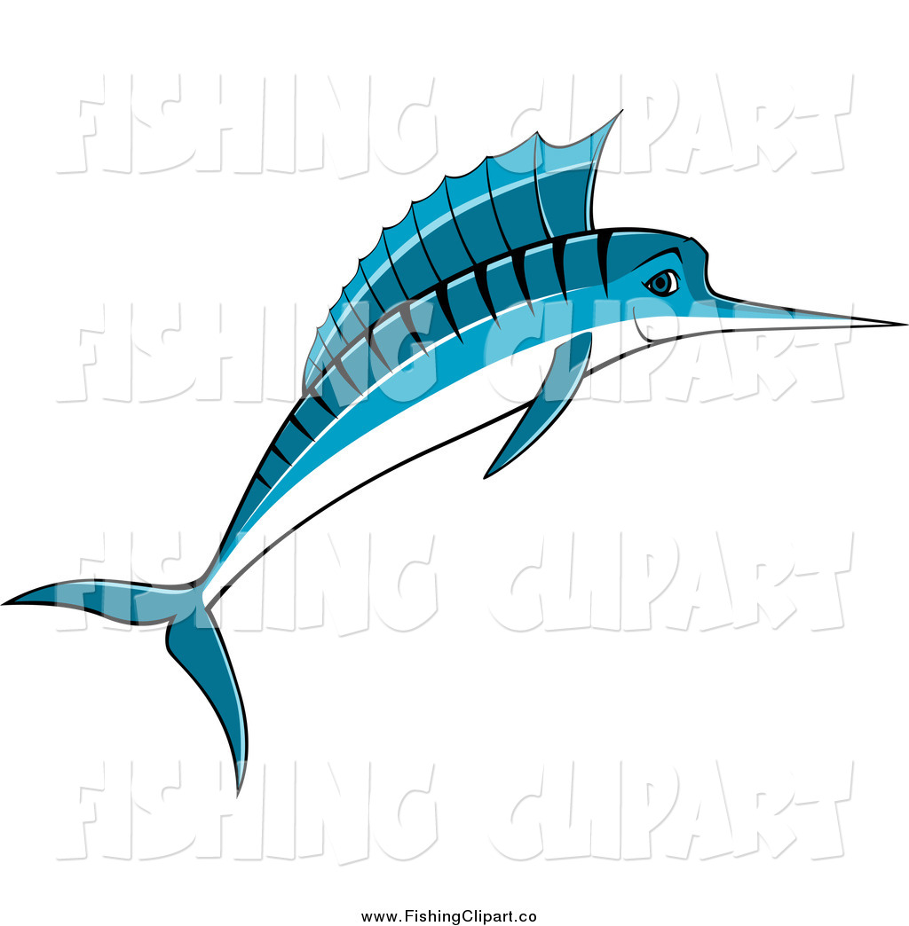 1024x1044 Clip Art Of A Jumping Blue Marlin Fish Smiling By Vector Tradition