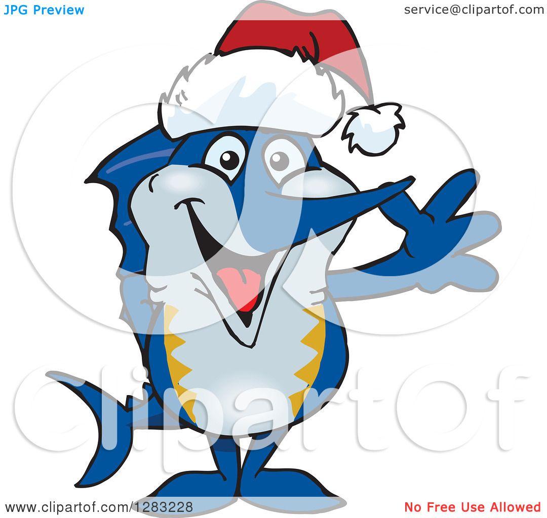 1080x1024 Clipart Of A Friendly Waving Marlin Fish Wearing A Christmas Santa