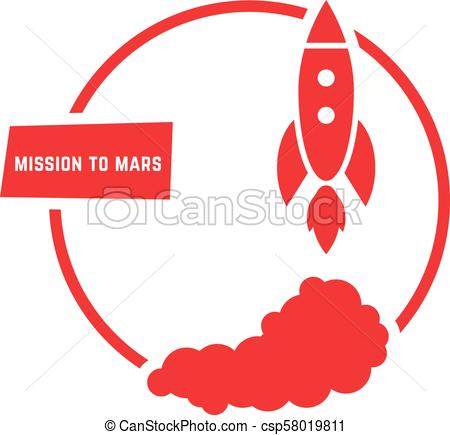 450x435 Red Mission To Mars Logo. Concept Of Sputnik, Futuristic Vector