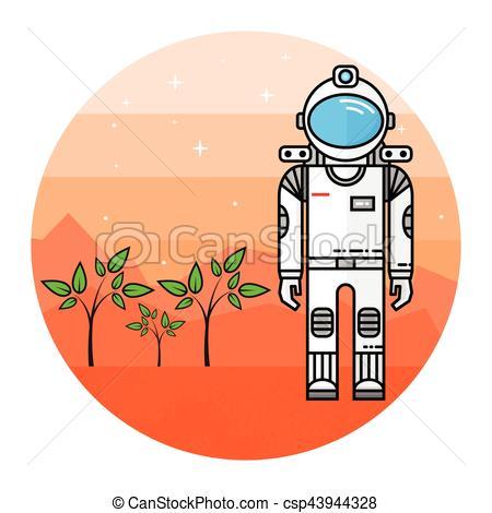 450x470 Astronaut Grow Plants On Mars. Human Mission To Mars.