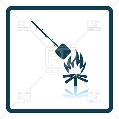 400x400 Icon Of Camping Fire With Roasting Marshmallow Royalty Free Vector