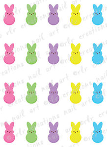 218x300 20 Nail Decals Easter Marshmallow Bunnies Peeps Water Slide