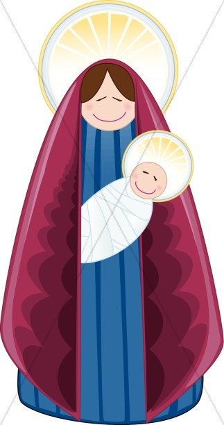 323x612 Contemporary Mary And Baby Jesus With Halos Virgin Mary Clipart