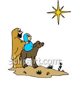 230x300 Cartoon Mary And Joseph Looking At The North Star