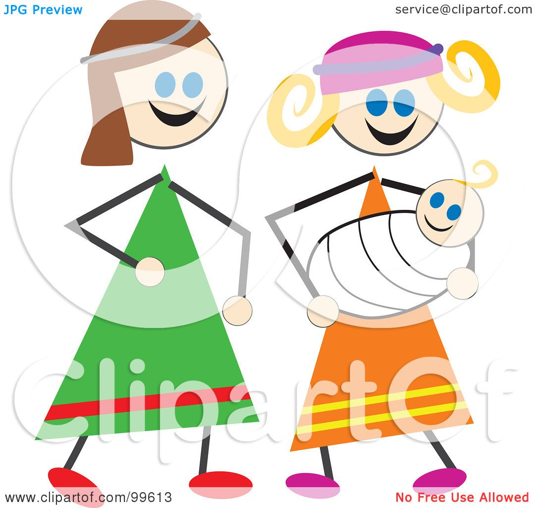 1080x1024 Royalty Free (Rf) Clipart Illustration Of A Stick Children Dressed