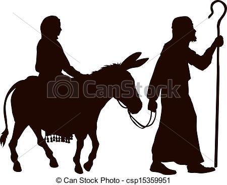 450x368 Silhouetten, Joseph, Mary. Eve., Weihnachten, Esel, Clipart