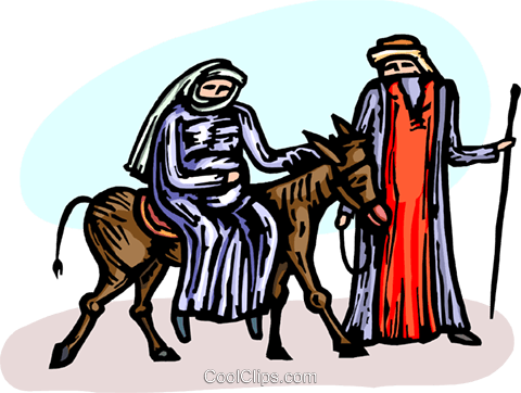 480x362 Virgin Mary And Joseph Traveling Royalty Free Vector Clip Art