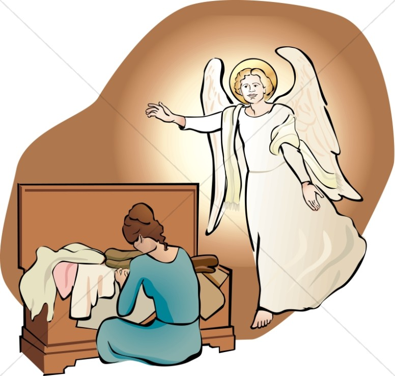 776x739 An Angel Visits Mary With Her Trousseau Nativity Clipart