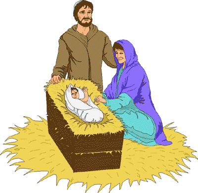 400x390 Free Clipart Of Mary And Baby Jesus Joseph Joyful With Laughing