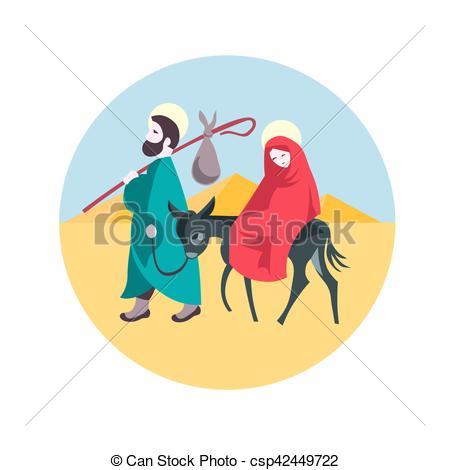 450x470 Mary And Joseph Flee To Egypt Nativity Jesus Illustration Vector